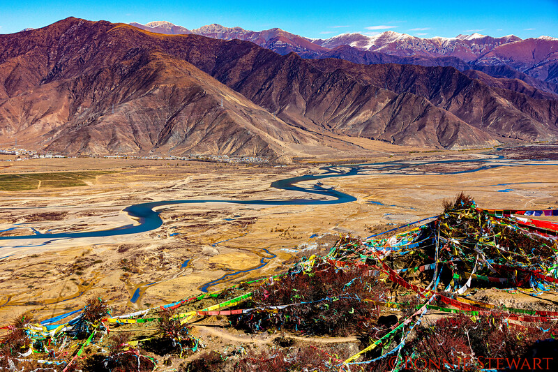 View from the hour-long circumambulation, or Kora,  of the Ganden Monastery with Prayer Ribbons