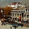 Barkhor Square and Potala from Jokhang Cathedral.