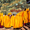 Monks lining up to enter the Monastery for prayer