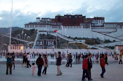"View of the Potala Palace from Potala Square which is home to the ""Monument to the Peaceful Liberation of Tibet."" Some Tibetians think it should be called the ""invasion"" monument.  http://en.wikipedia.org/wiki/Monument_to_the_Peaceful_Liberation_of_Tibet"