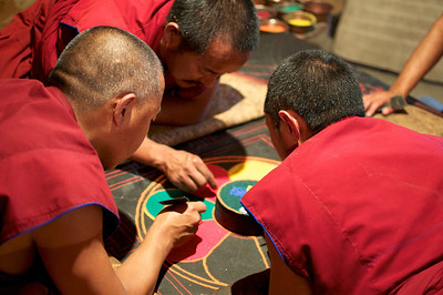Making a sand Mandala at Sera Monastery.