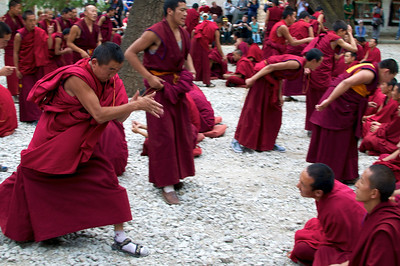 Debating Monks at the Sera Monastery in Lhasa Tibet.