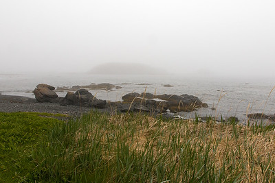 It's a misty seashore at Cape Onion