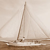 A classic antique skipjack sailboat on the Chesapeake Bay