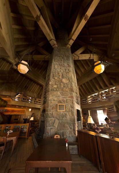 Massive wood and stone construction inside the Lodge