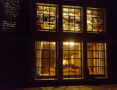 Looking into the Lodge at night