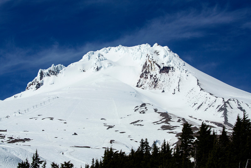 Mount Hood from Timberline Lodge.  Note ski-lift on the left.