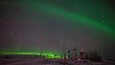 Auroras from Cemetery Hill. Kotzebue. AK. 2.24.12