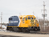 Newly repainted Ontario Northland Railway GP38-2 locomotive 1805 at Cochrane 2017 April 12th.