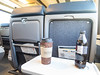 Coffee and coke zero on seat tray in Ontario Northland Railway coach 650.