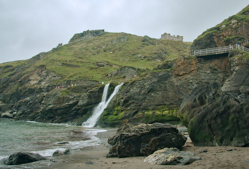 Tintagel tourists braving the elements