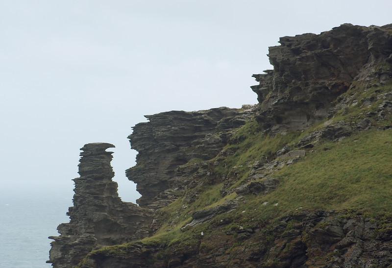 Wlind-swept landscape on Tintagel Head