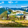 School Kids Playing Hand Ball Against the Backdrop of Apple Orchards and Himalayas