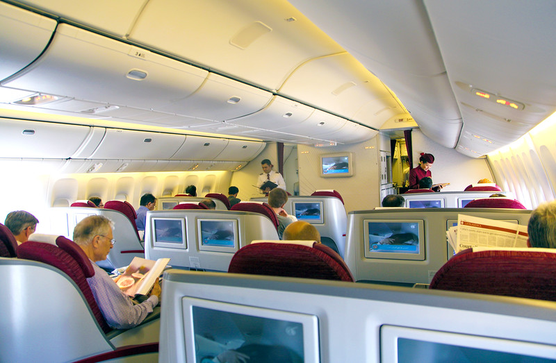 Business Class cabin on Qatar Airways Boeing 777.  Ready for takeoff