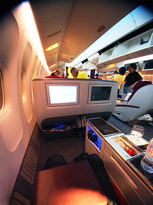 Business class seat is a cocoon on Qatar Airways' flight from Houston to Doha