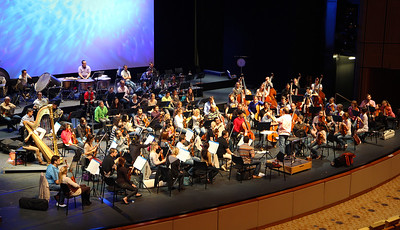 The Qatar Philharmonic Orchestra rehearsing Mahler's 2nd Symphony at the Convention Center