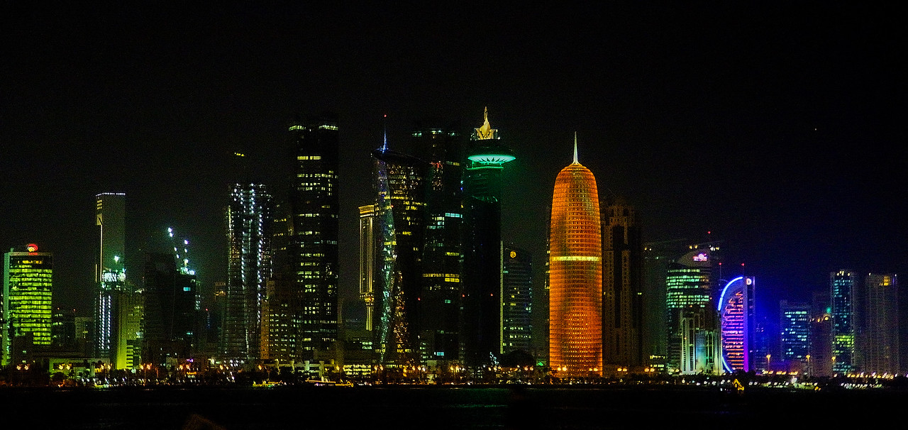 Downtown Doha viewed from taxicab