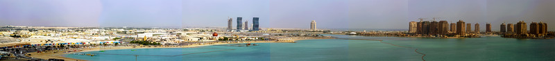 Panorama of part of the Doha waterfront, seen from the St. Regis