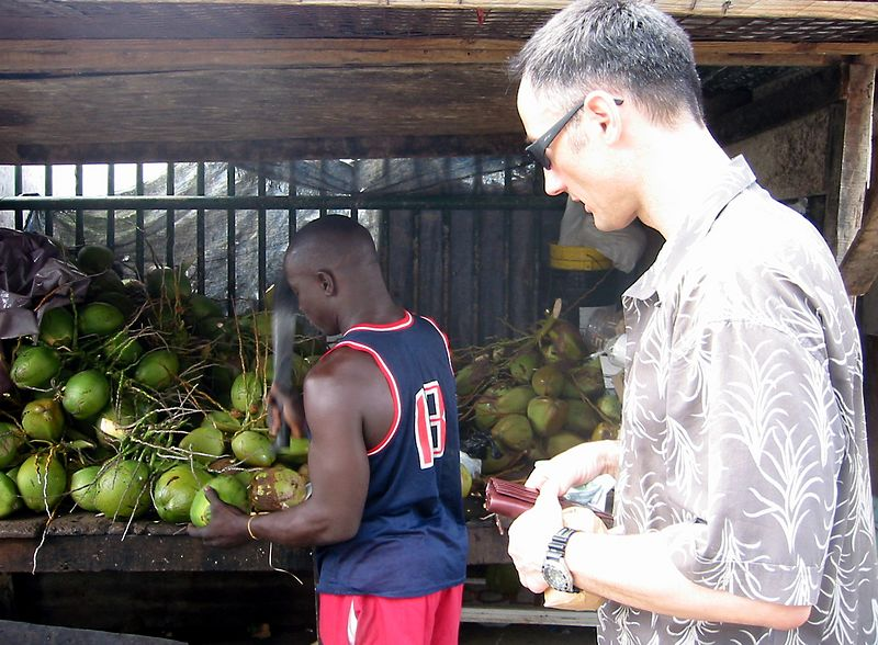 We return time and again to the coconut water vendor.
