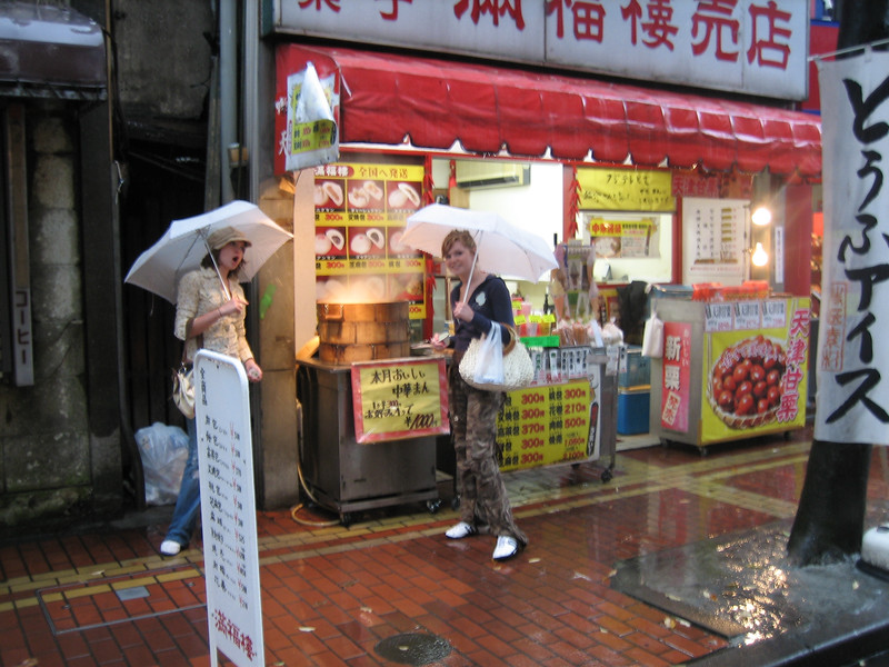 Hanging out in the pouring rain in China Town near Tokyo