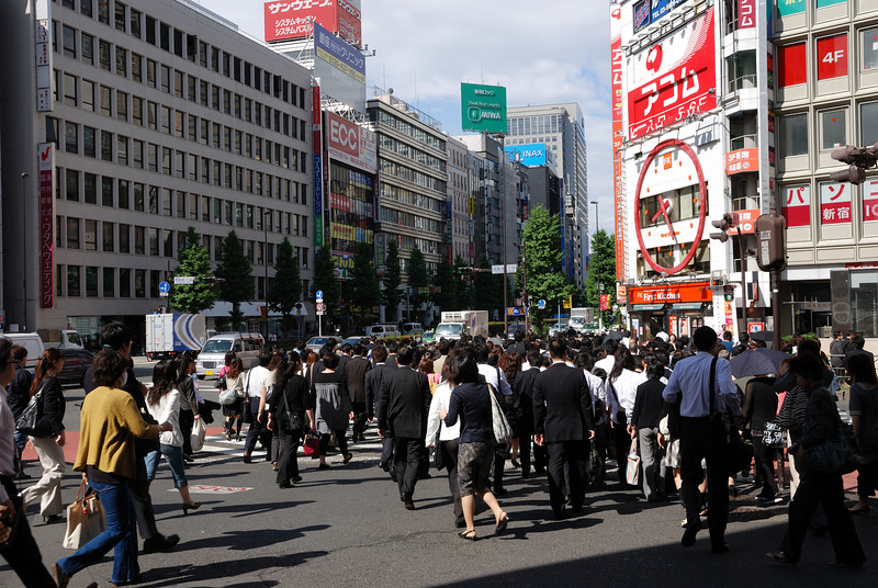 I thought I'd get a crowd shot of the masses that exit from Shinjuku station every morning.  At this intersection, a crowd this large gathered for basically every cycle of the crossing lights.