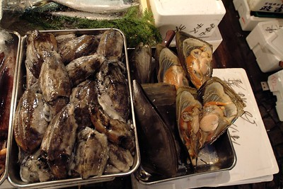 Besides tuna you find anything else that has ever lived in the sea. The clams on the right are about 50 cm large.