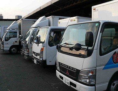 Trucks waiting to take all the fish throughout Japan and the world.