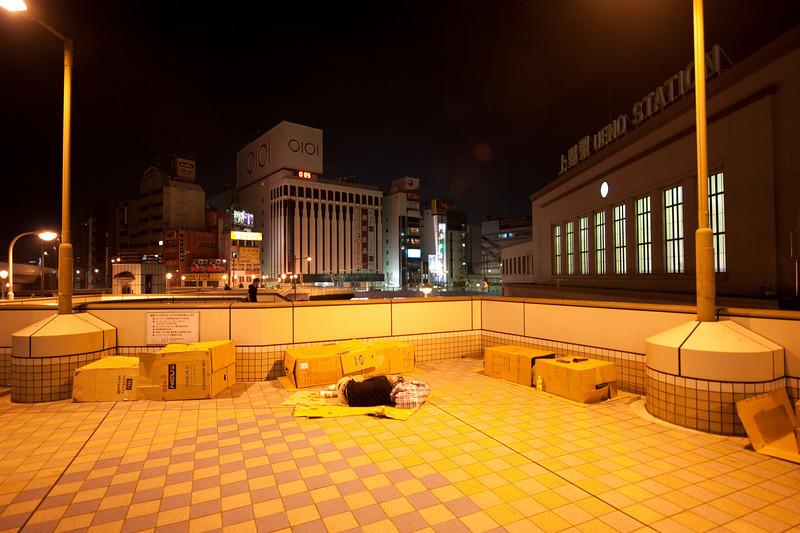 Tokyo Japan Taking a little nap at Ueno Station