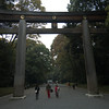 The massive torii (entrance gate) at Meiji Jingu, the shrine in Yoyogi Park.