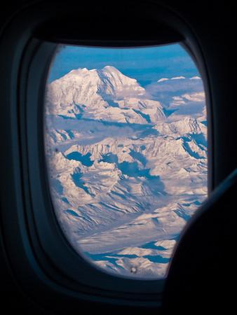 Mt. McKinley, Alaska from 38000 feet - http://en.wikipedia.org/wiki/Mount_McKinley