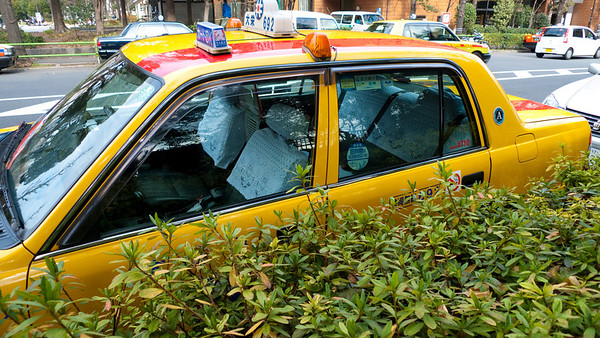 Cab in Tokyo - notice the headrest covers