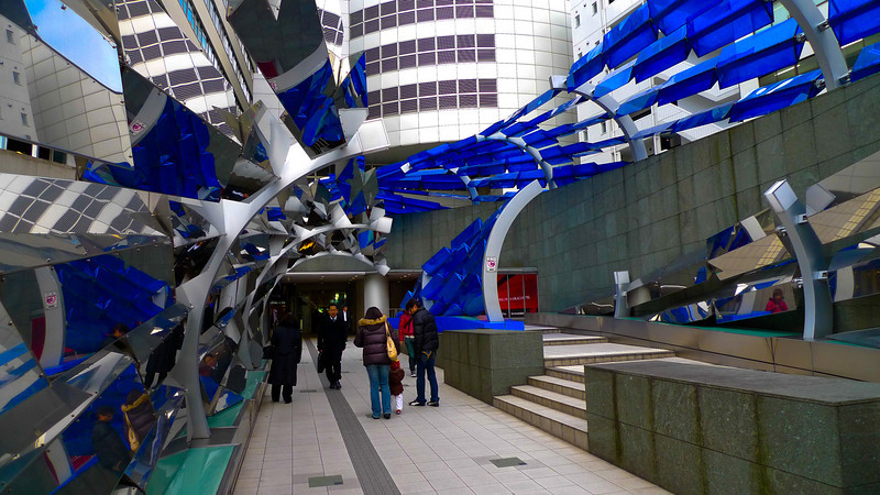 Interesting entryway to a shopping mall