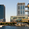 Water bus to Odaiba - Fuji Television Building in the background