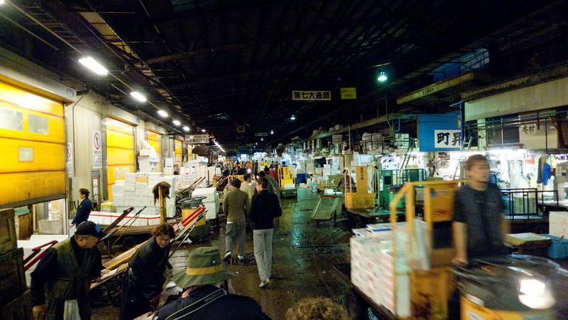 "Tsukiji Fish Market morning madness - <a href=""http://en.wikipedia.org/wiki/Tsukiji_fish_market"">http://en.wikipedia.org/wiki/Tsukiji_fish_market</a>"