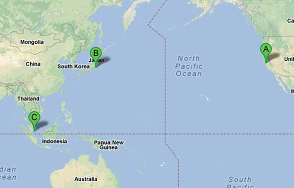On Christmas Eve 2012, my fiance Radek and I flew from San Francisco to Tokyo, Japan, to continue to Singapore.  It is about an 11.5 hour flight from SFO to NRT (Tokyo), then 7 more hours from NRT to SIN (Singapore).  The line in the middle of the map that you see is the international date line which makes you basically lose a day if you go west.  So we did not arrive in Japan until the evening of Dec. 25, having left on Dec. 24 in the afternoon.