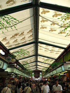 Covered market leading up from the main road to the Sensoji Temple, Tokyo.