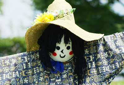 Japanese scarecrow at the Roppongi Hills roof garden, Tokyo.