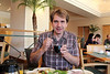 Radek enjoying some miso soup for breakfast.