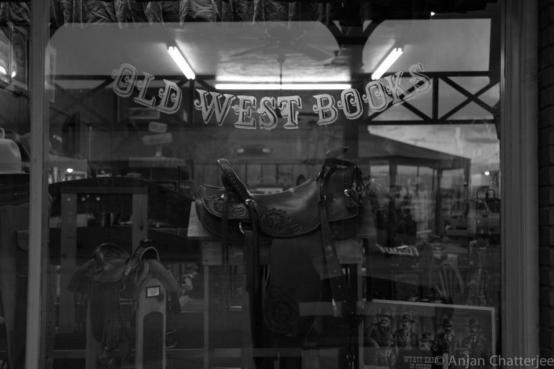 Tombstone Bookstore and saddles!