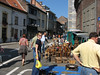 Fleamarket in Tongeren, Belgium.  The fleamarket is very popular.  It takes place on Sundays from 6AM to 12:30PM at which time it shuts down rather quickly.
