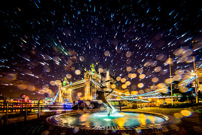 Fountain Spray by Tower Bridge, London.