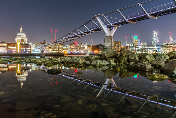 St Pauls and the Millenium Bridge at Night,