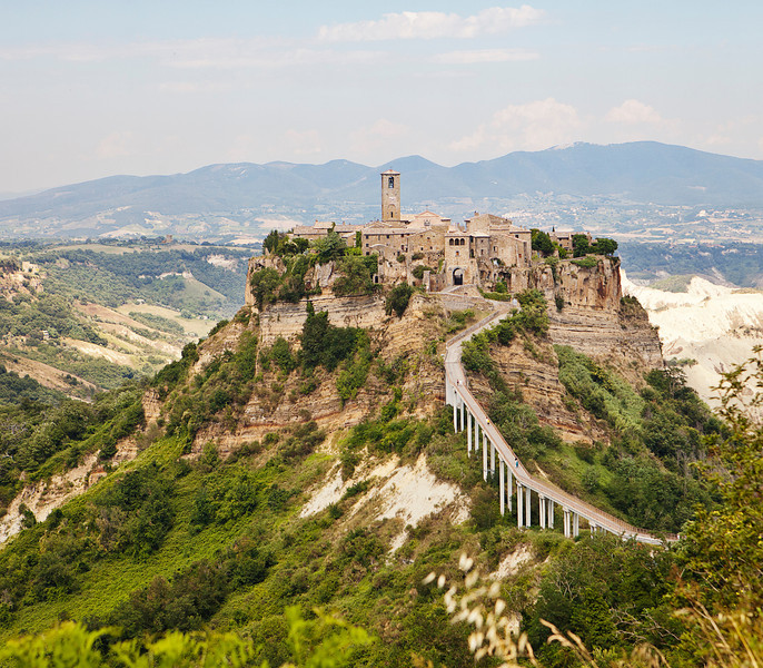 The medieval hill town of Civita is connected to the rest of the world by a pedestrian bridge after an earthquake destroyed the natural land bridge years ago.