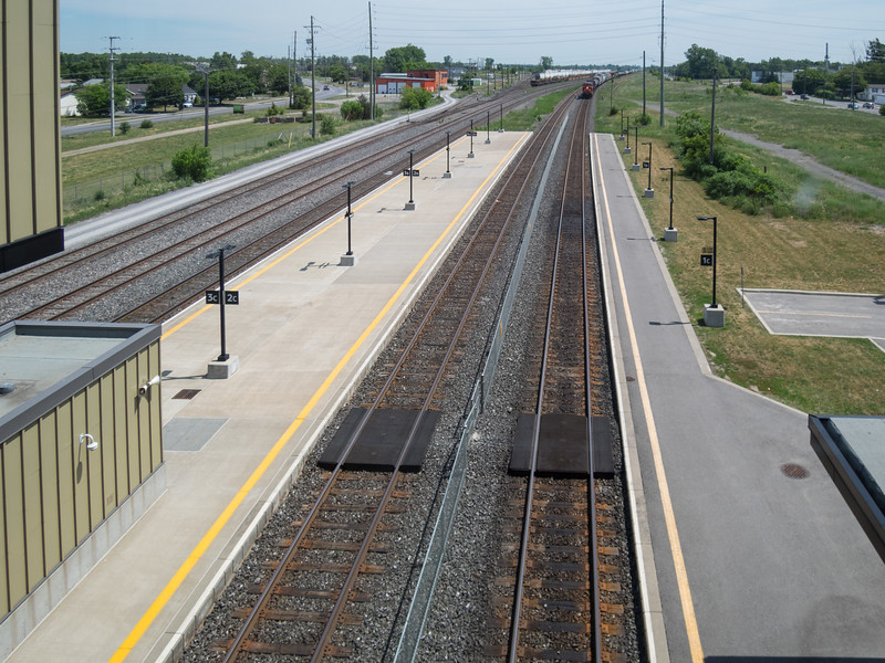 Belleville train station looking east from bridge over tracks 1 and 2.