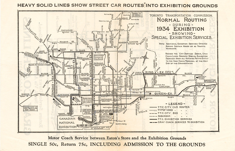 1934 Toronto Transportation Commission normal routing during 1934 Exhibition showing special Exhibition Services.
