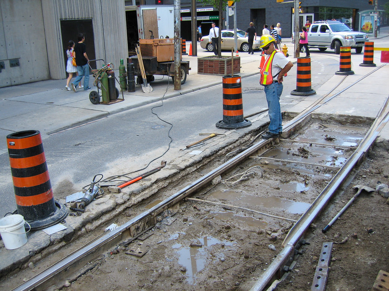 Streetcar track work at Queen and Bay 2008 August 6.