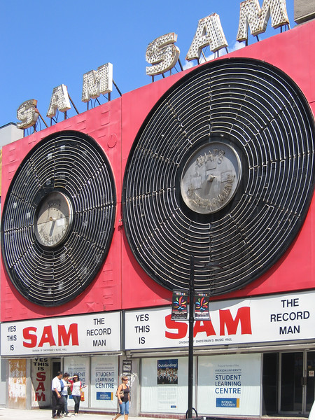 Former Yonge Street location of Sam the Recordman. Sign still up. Now part of Ryerson. 2008 August 6