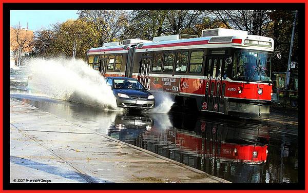 Toronto Street Car during a flood