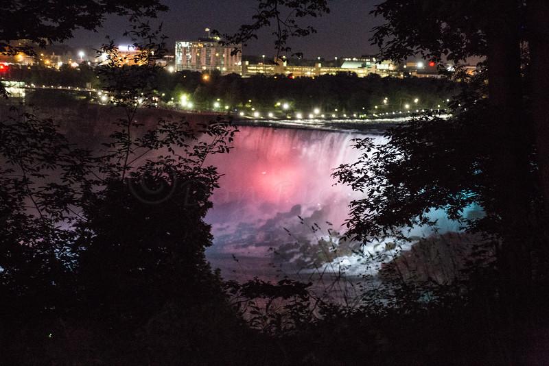 American Niagara Falls at night