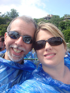 We took a boat out into the middle of the horseshoe falls.  It was so hot and they made us wear these blue panchos.  I thought we were going to suffocate!